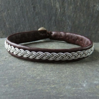 Classic Sami Style Leather Bracelet with Pewter Braid