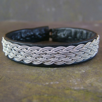 Sami Bracelet- Double Braid on Black Leather