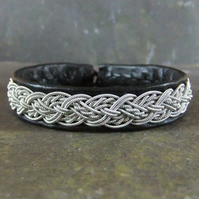 Sami Bracelet- Cable Braid on Black Leather