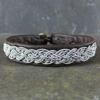 Sami Bracelet- Cable Braid on Brown Leather
