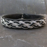 Sami Bracelet-  Pewter Braid & Leather Lace on Black Leather