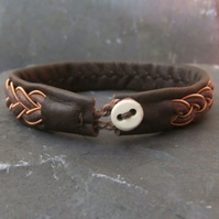 Sami Bracelet-  with Copper & Leather Braid on Brown Leather