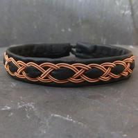 Sami Bracelet-  with Copper Braid on Black Leather