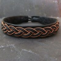 Sami Bracelet-  with Copper & Leather Braid on Black Leather