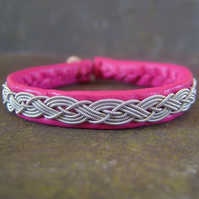 Sami Bracelet - Braided Pewter Threads on Cerise Leather