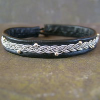 Sami Bracelet- Pewter Braid with Silver Beads on Black Leather