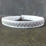 Sami Bracelet  Traditional  Braid on White Leather