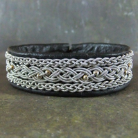 """Sterling 3"". Sami Style Leather & Pewter Bracelet. Made to Measure."