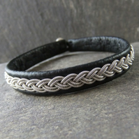 """Classic"". Sami Style, Made to Measure, Leather and Pewter Bracelet"