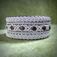 """Medieval"" Sami Style Leather & Pewter Bracelet. Made to Measure."