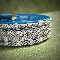 """Freya"" Sami Style Leather & Pewter Bracelet. Made to Measure."