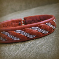 """Shores"" Sami Style Leather Bracelet, Pewter & Leather Braid, Made to Measure."