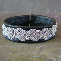 """Hamespun Twisted Celtic Knot"" - Leather & Pewter Bracelet, Made to Measure."
