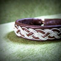 """Cable"" Sami Style Leather Bracelet - Pewter & Leather Braid, Made to Measure."