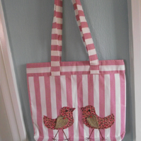 striped tote bag, two little birds,