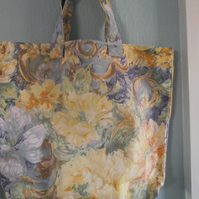 blue and yellow flowered shopping bag, tote bag,carrier bag
