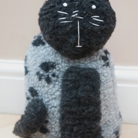 Handmade Black & Grey Cat Doorstop