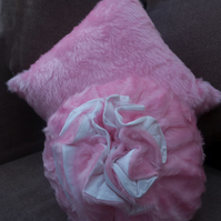 Square & Round Pink Faux Fur Cushions