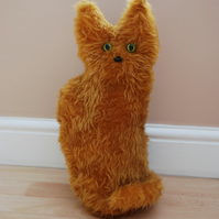 Handmade Faux Fur Tabby Sitting Cat Doorstop