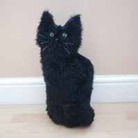 Handmade Black Sitting Cat or Kitten Doorstop
