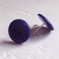 Funky Purple Button Earrings