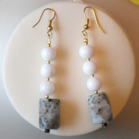 Seseme Jasper and White Jade Earrings