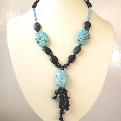 Turquoise, Obsidian, Tiger Eye and Swarovski Crystal Necklace