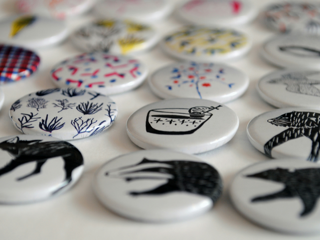 Five Handmade Pin Badges