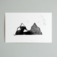 SALE. Mountains Lino Print Postcard