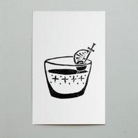 SALE. Cocktail Lino Print Postcard