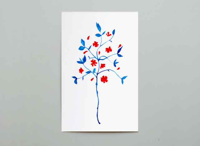 Flowers in Blue and Red Postcard
