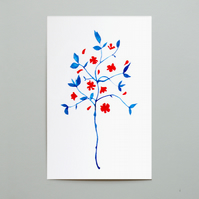 SALE. Flowers in Blue and Red Postcard