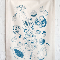 SALE Organic Cotton Screen-printed Tea Towel in Teal