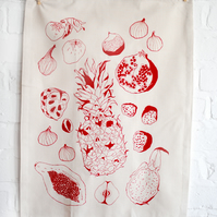 SALE Organic Cotton Screen-printed Tea Towel in Dark Red