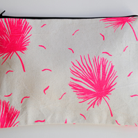 SALE Handmade Zippered Pouch in Neon Pink