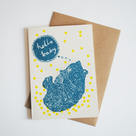 'Hello Baby' Hand Printed Card in Yellow and Teal