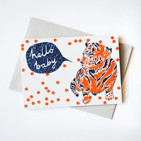 'Hello Baby' Hand Printed Card in Orange and Blue