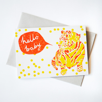 'Hello Baby' Hand Printed Card in Orange and Yellow