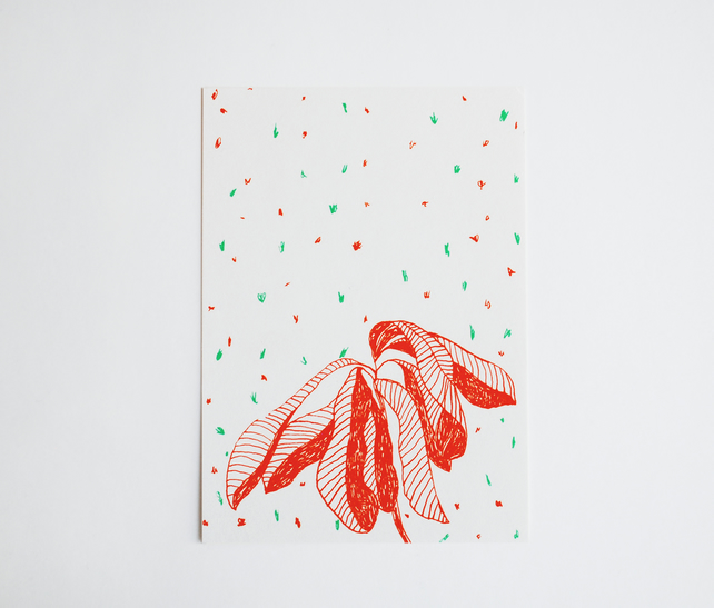 'Botanical' Hand Screen Printed Postcard in Orange and Green