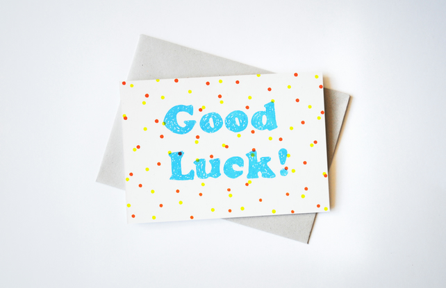 'Good Luck' Hand Printed Card in Yellow, Orange, and Bright Blue