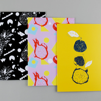 "Set of Three A5 Botanical Notebooks ""Fruity"""