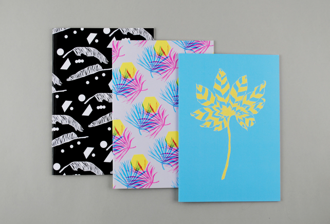 "Set of Three A5 Botanical Notebooks ""Leafy"""