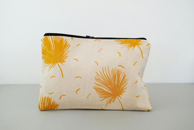 SALE Handmade Zippered Pouch in Yellow
