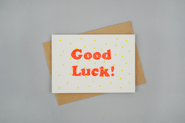 'Good Luck' Hand Printed Card in Coral and Yellow