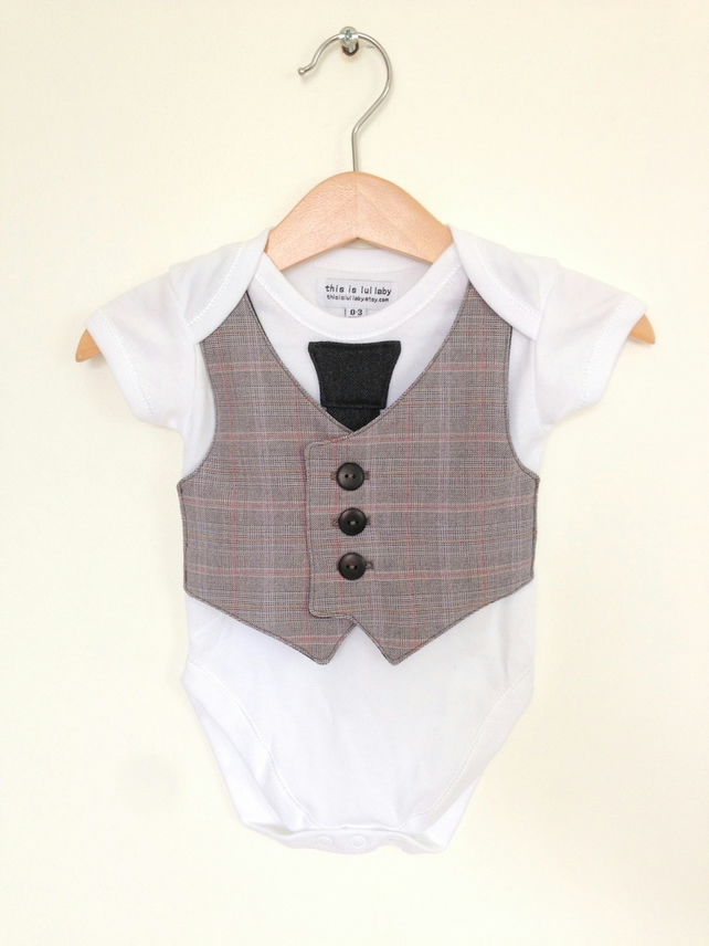 0 To 3 Months Waistcoat And Tie Baby Boy Bodysu Folksy