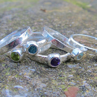 3 Large Stone Stacker Rings in sterling silver