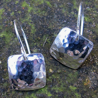 Battered silver square earring