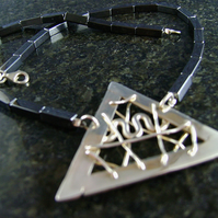 Pyramid Pendant with Hematite beads