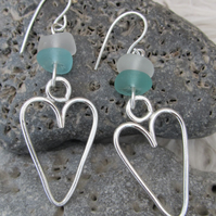 Sea Glass and Sterling Silver 'Heart' Earrings