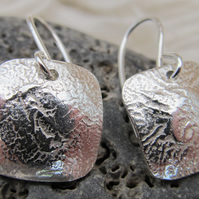 Square Reticulated Sterling Silver Earrings
